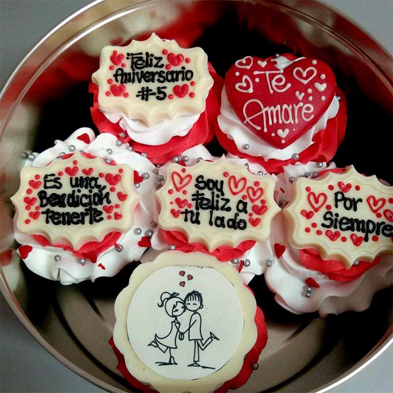 Cupcakes X 6 Unidades Parejita Enamorados Corazon Te Amare